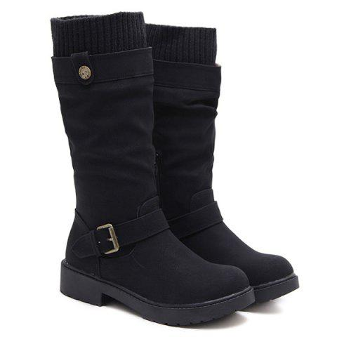 Buckle Strap Low Heel Stitching Mid Calf Boots - BLACK 40