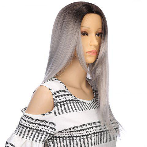 Long Ombre Middle Part Straight Synthetic Wig - COLORMIX