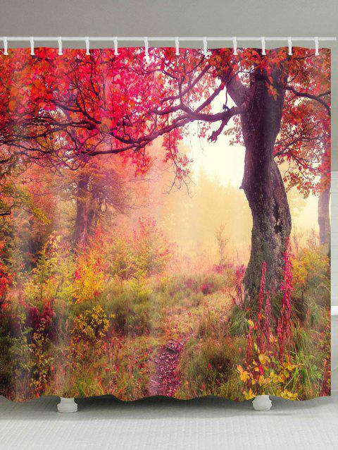Maple Forest Path Print Waterproof Shower Curtain - COLORMIX W71 INCH * L71 INCH