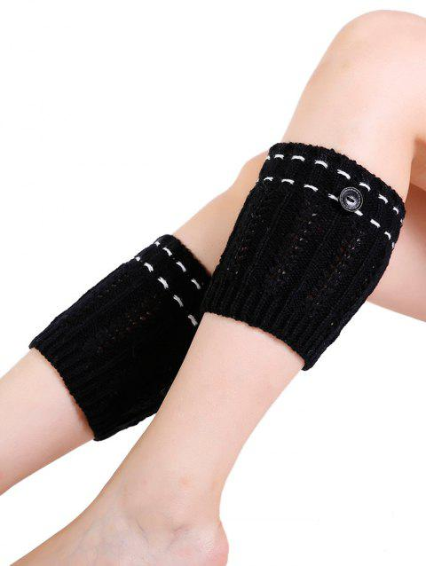 Soft Button Embellished Crochet Knitted Leg Warmers - BLACK