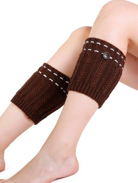 Soft Button Embellished Crochet Knitted Leg Warmers - LIGHT COFFEE