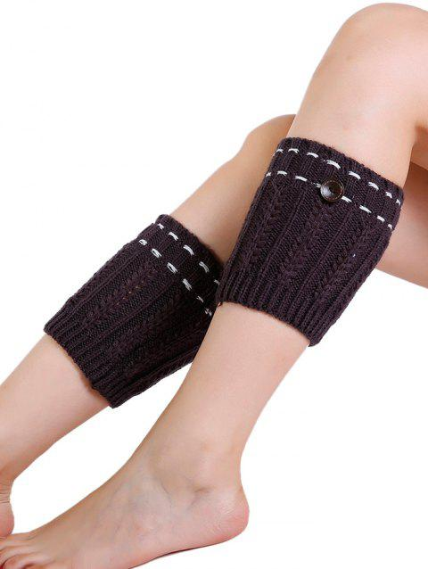 Soft Button Embellished Crochet Knitted Leg Warmers - ESPRESSO