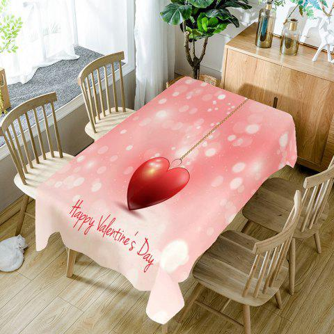 Heart Necklace and Letters Printed Waterproof Table Cloth - PINK W54 INCH * L54 INCH