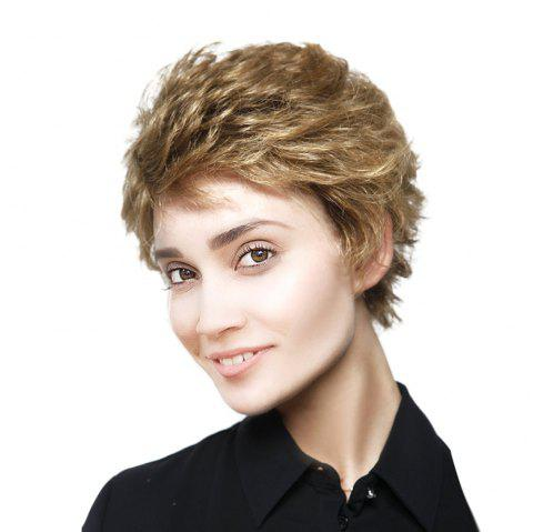 Short Side Fringe Fluffy Layered Curly Synthetic Wig - GOLDEN