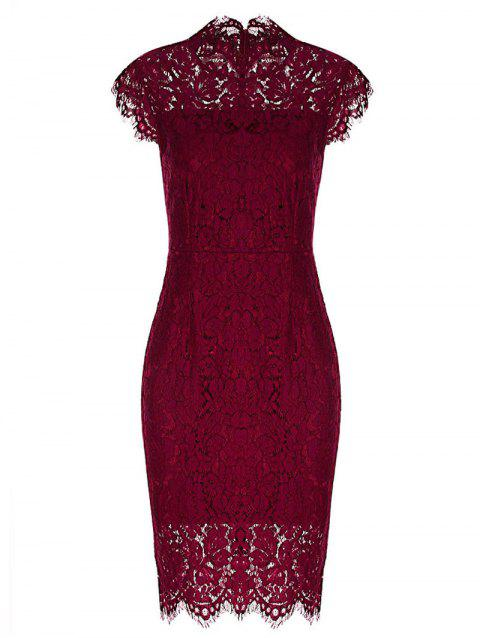 Vintage Fitted Lace Dress - WINE RED S