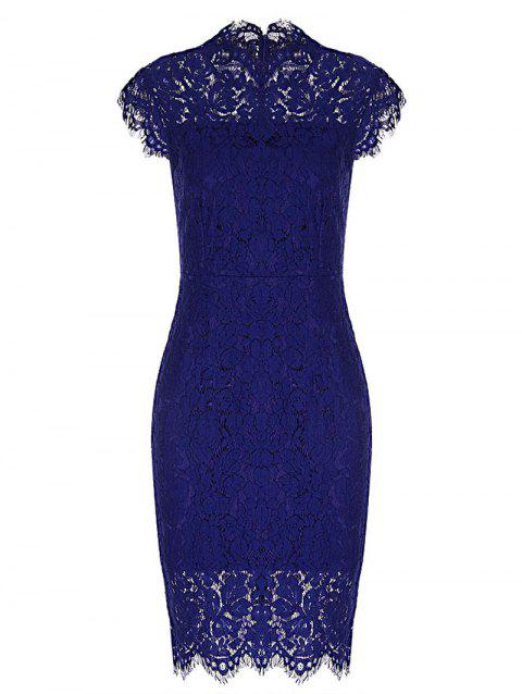 Vintage Fitted Lace Dress - BLUE 2XL