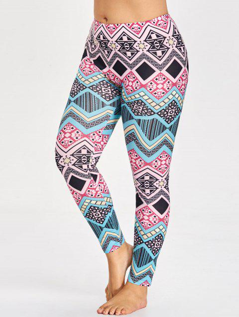 Sports Plus Size Tribal Pattern Leggings - multicolorCOLOR 3XL