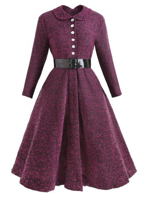 Button Collared Belted Vintage Dress - PURPLE L