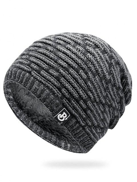 Letter Label Colormix Thicken Knitting Slouchy Beanie - LIGHT GRAY