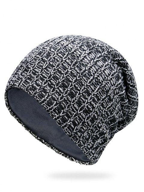 Outdoor Stripe Pattern Crochet Knitting Slouchy Beanie - BLACK