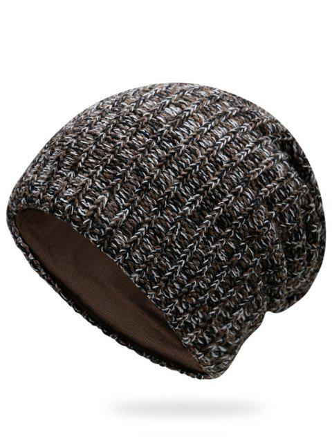 Outdoor Stripe Pattern Crochet Knitting Slouchy Beanie - CAPPUCCINO