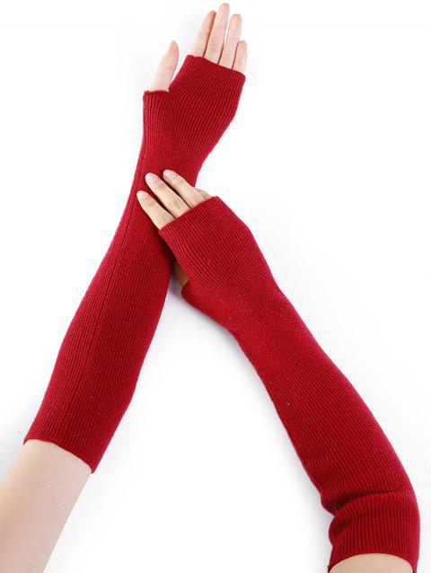 Soft Striped Pattern Knitted Fingerless Gloves - RED