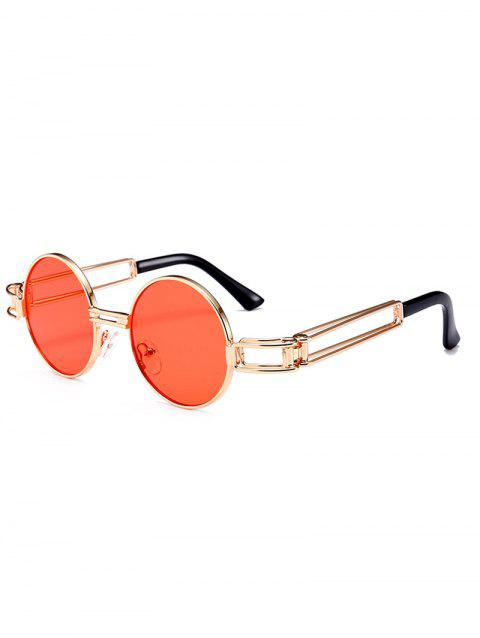 Hollow Out Metal Frame Embellished Round Sunglasses - JACINTH