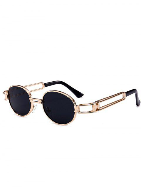 Anti UV Hollow Out Decorated Metal Full Frame Oval Sunglasses - BLACK