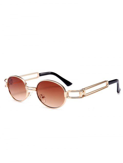 Anti UV Hollow Out Decorated Metal Full Frame Oval Sunglasses - TEA COLORED