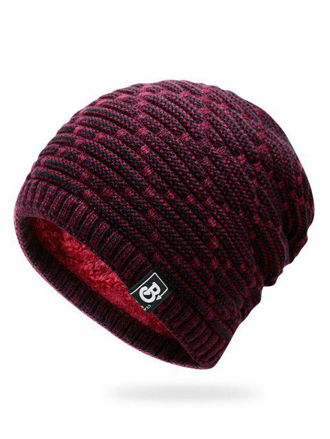 Letter Label Colormix Thicken Knitting Slouchy Beanie - WINE RED