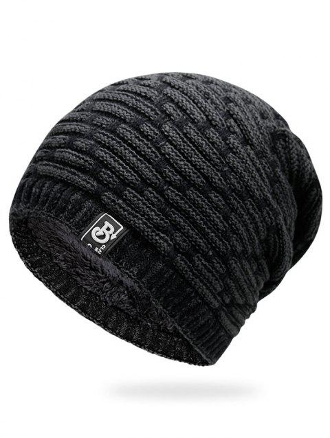 Letter Label Colormix Thicken Knitting Slouchy Beanie - DARK GRAY