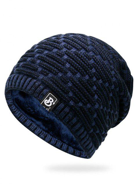 Letter Label Colormix Thicken Knitting Slouchy Beanie - CERULEAN