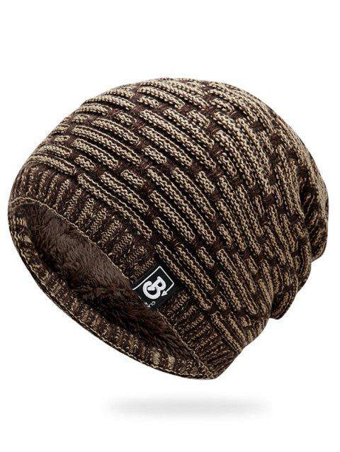 Letter Label Colormix Thicken Knitting Slouchy Beanie - KHAKI