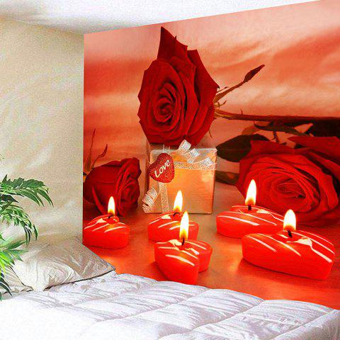 Valentine's Day Gift Roses Heart Candles Printed Wall Tapestry - RED W91 INCH * L71 INCH