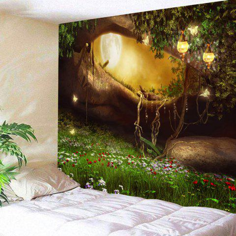 Fantasy Forest Hole Pattern Wall Decor Tapestry - COLORMIX W71 INCH * L71 INCH