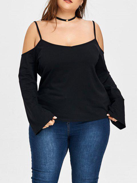 Plus Size Open Shoulder Slip Blouse - BLACK 4XL