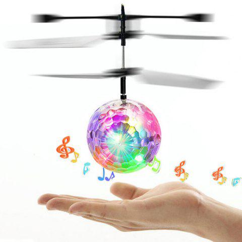 Built-in Disco Music Induction Flying Ball with Flashing LED - TRANSPARENT