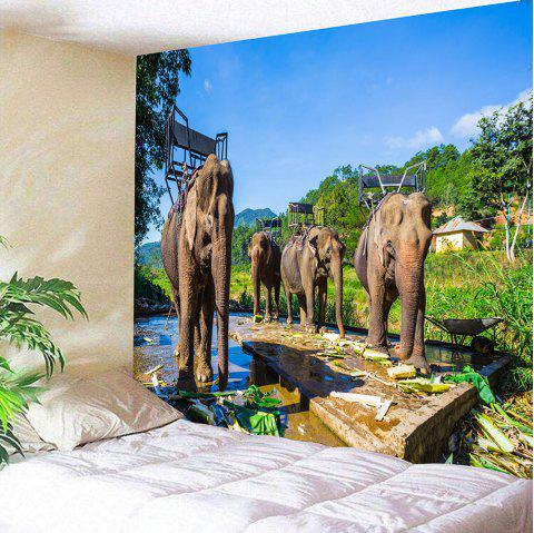 Thailand's Elephants Pattern Wall Hanging Tapestry - COLORMIX W79 INCH * L71 INCH