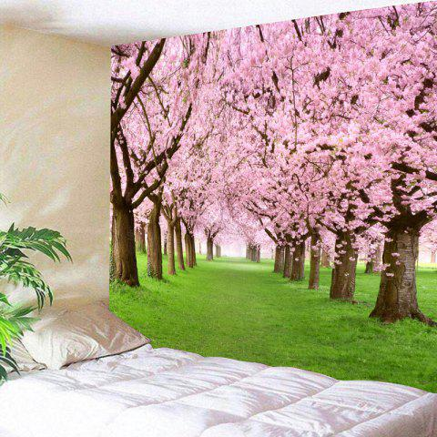 Wall Hanging Flower Forest Print Tapestry - PINK W79 INCH * L71 INCH