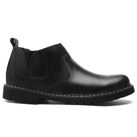Faux Leather Slip-On Ankle Boots - BLACK 38