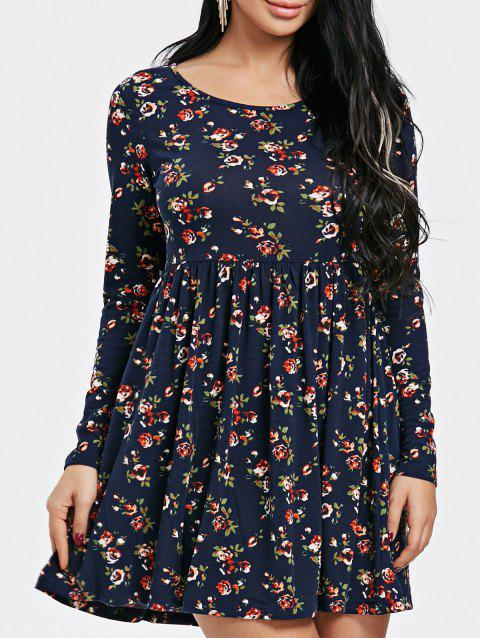 Tiny Floral Print Long Sleeve Dress - PURPLISH BLUE XL