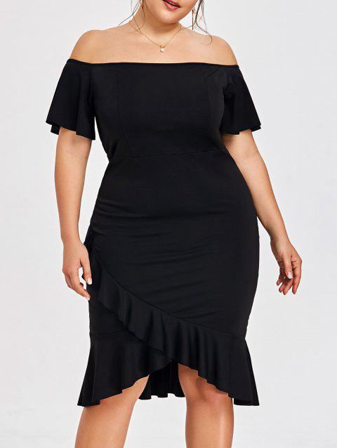 Plus Size Off The Shoulder Overlap Mermaid Dress - BLACK 5XL