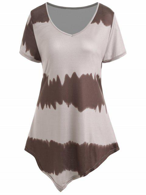 Plus Size Asymmetrical Ombre Tee - COFFEE 4XL