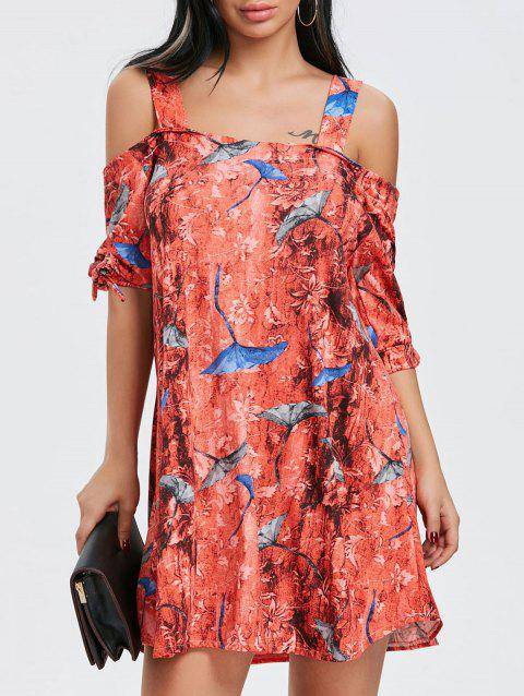 Print Tie Sleeve Open Shoulder Dress - COLORMIX L