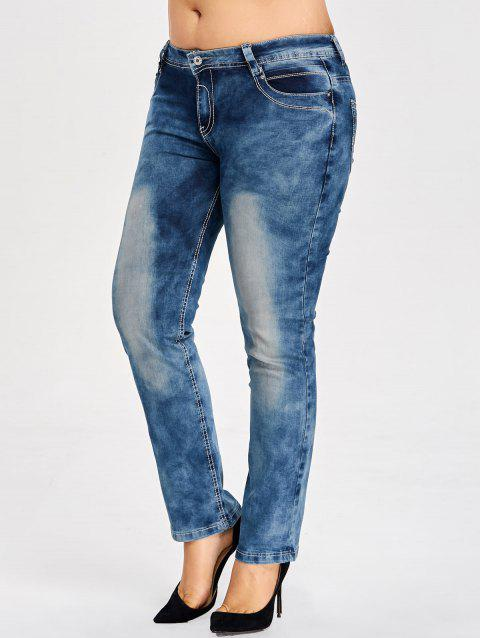 Plus Size Bleach Wash Slim Fit Jeans - BLUE 2XL