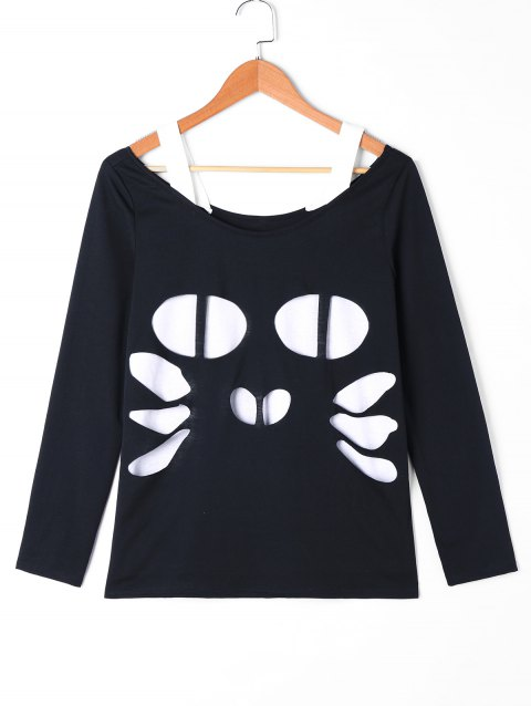 Monochrome Cut Out Cat T-shirt - BLACK 2XL