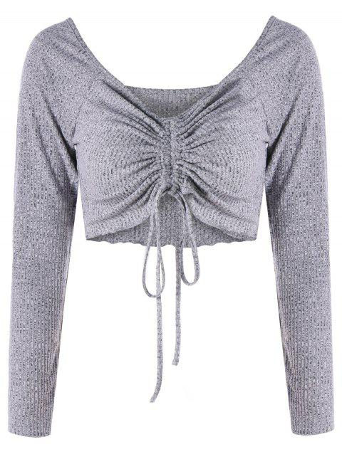 Low Cut Empire Waist Cropped Top - GRAY M