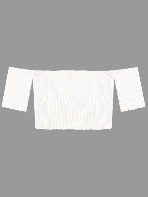 Short Sleeve Raw Edge Ribbed Cropped Knitwear - WHITE M