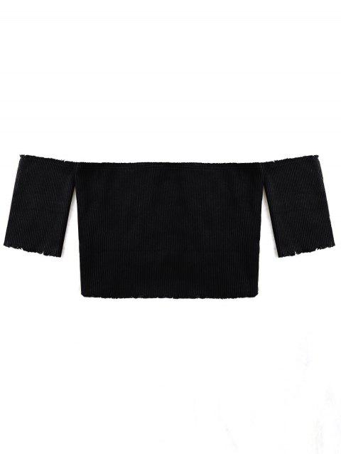 Short Sleeve Raw Edge Ribbed Cropped Knitwear - BLACK S