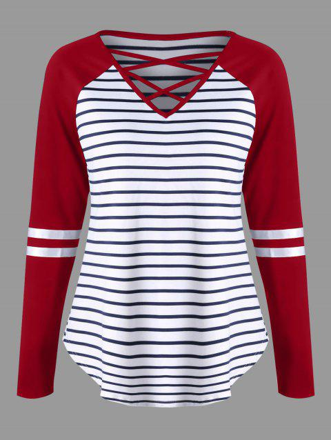Lattice Neck Striped Curved Top - RED M