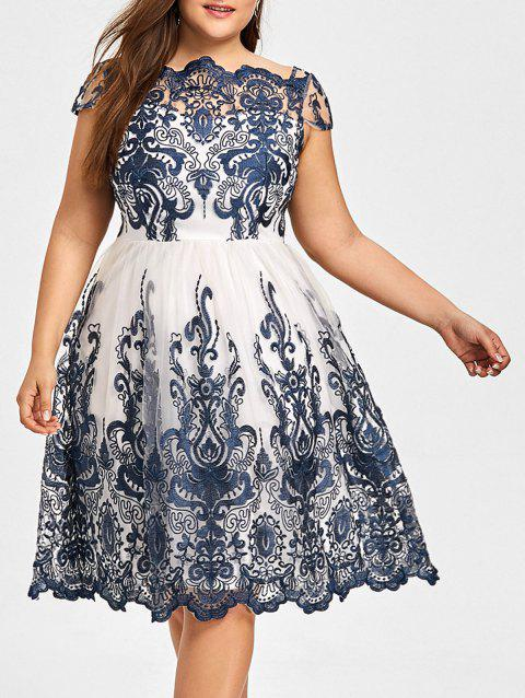 Plus Size Baroque Embroidered Tulle Dress - PURPLISH BLUE 2XL