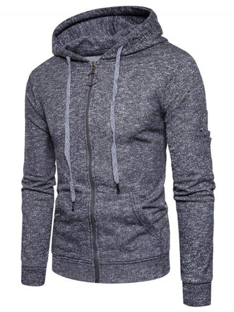 Cotton Blends Zip Up Pouch Pocket Hoodie - DEEP GRAY XL