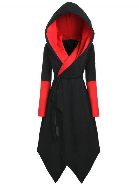 Plus Size Asymmetric Color Block Hooded Coat - BLACK/RED 2XL
