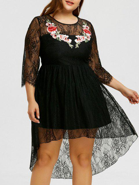 Plus Size Embroidery Lace High Low Hem Dress - BLACK 5XL