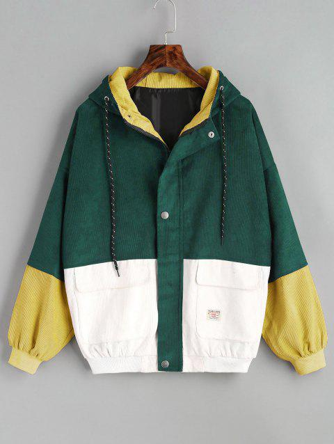 Color Block Hooded Corduroy Jacket - DEEP GREEN M