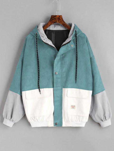 Color Block Hooded Corduroy Jacket - BLUE GREEN M