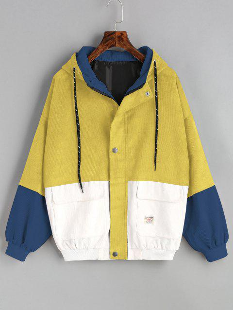 Color Block Hooded Corduroy Jacket - YELLOW M