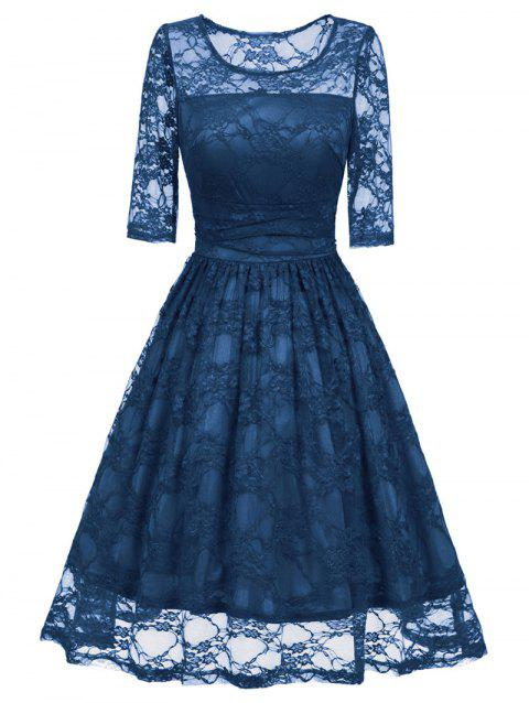 Vintage Fit and Flare Party Lace Dress - BLUE L