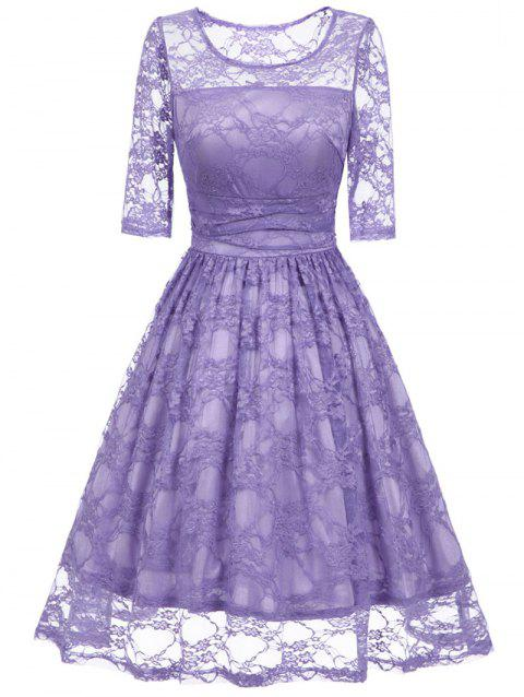 Vintage Fit and Flare Party Lace Dress - PURPLE S