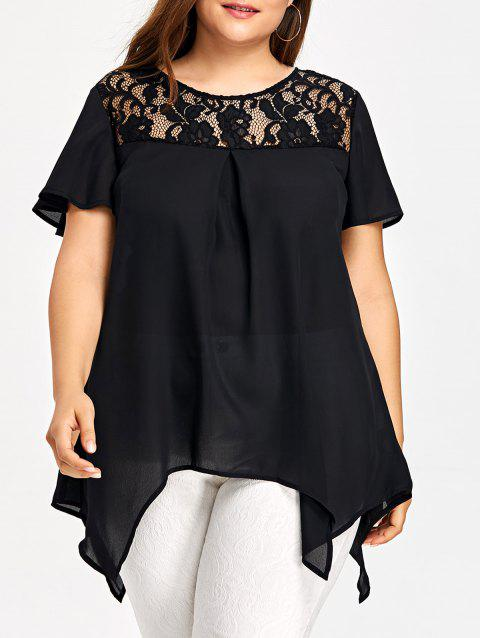 Plus Size Lace Insert Handkerchief Blouse - BLACK 3XL